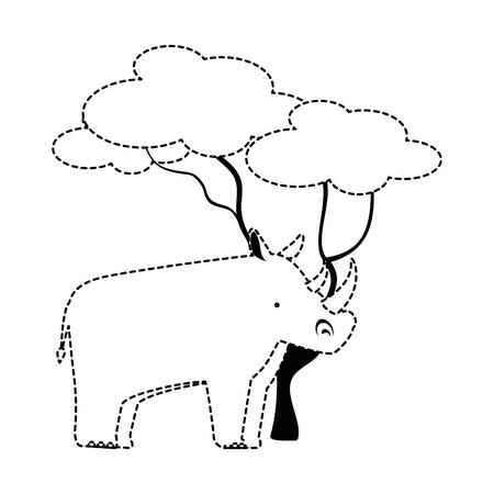 트리 벡터 일러스트 레이 션 디자인 야생 코뿔소