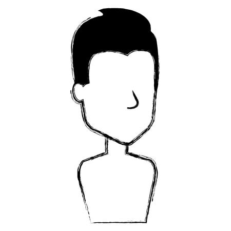 A young man shirtless avatar character vector illustration design