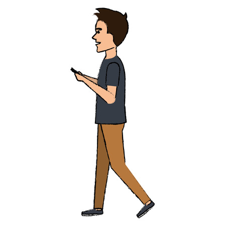 A man chatting with smartphone vector illustration design
