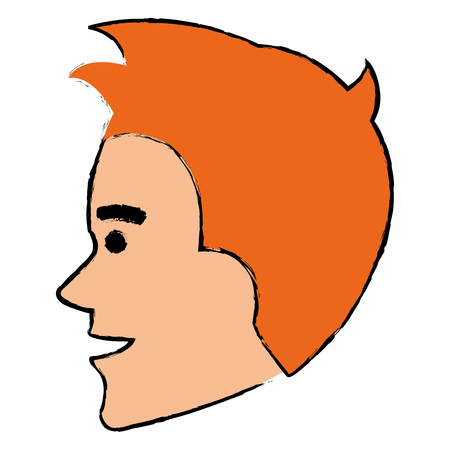 young man head avatar character vector illustration design Illustration