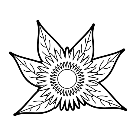 dahlia flower floral leaves foliage ornament garden image vector illustration