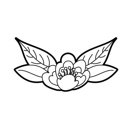Illustrazione di vettore della decorazione delle foglie della fioritura delicata della natura del fiore della ciliegia Archivio Fotografico - 88789617
