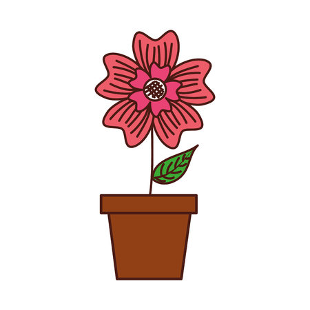 potted periwinkle flower adornment nature plant vector illustration