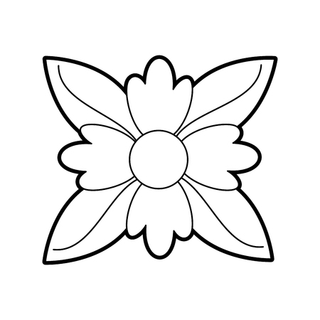 crocus flower natural leaves foliage decoration ornament vector illustration Иллюстрация