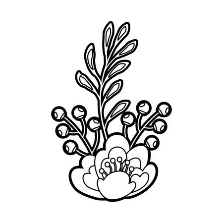flower leaves branch berries natural vector illustration Illustration