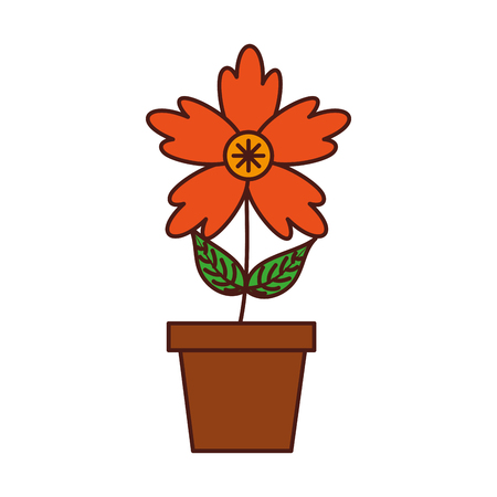 potted crocus flower natural decoration ornament vector illustration Ilustracja