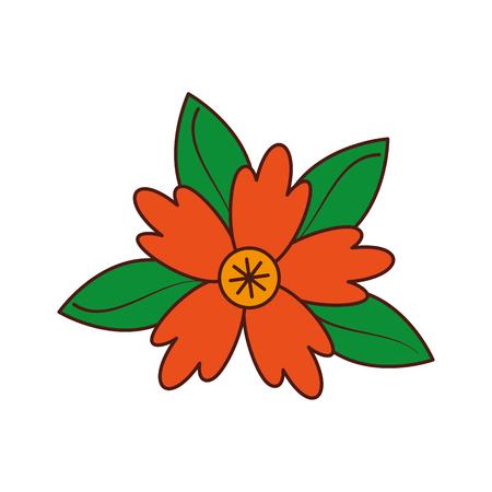 クロッカスの花自然葉葉飾りのベクトル図