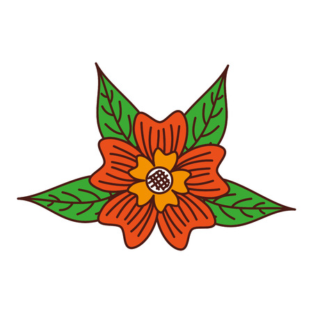 ツルニチニチソウの花装飾葉葉自然植物のベクトル図  イラスト・ベクター素材