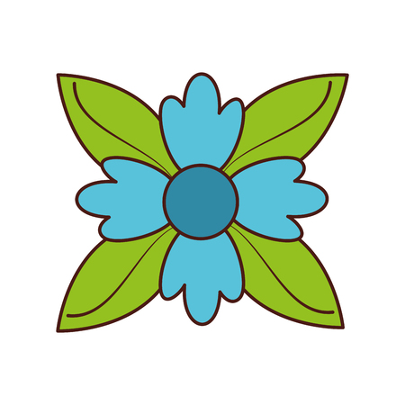 クロッカスの花自然葉葉装飾飾りベクトル図