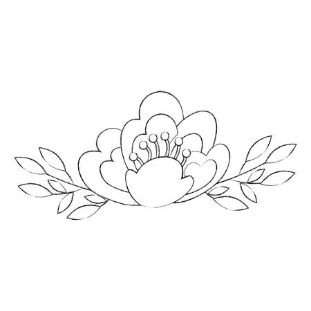 벚꽃 자연 섬세 한 꽃 장식 벡터 일러스트 레이 션을 나뭇잎