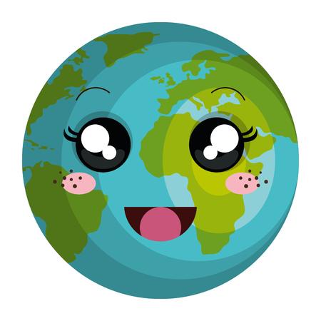 planeet aarde karakter vector illustratie ontwerp Stock Illustratie