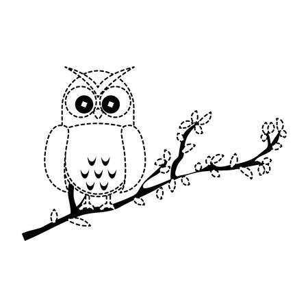 owl bird in branch vector illustration design