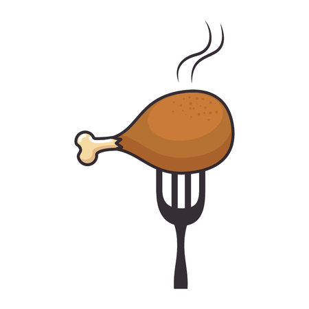 fork with chicken thigh vector illustration design Imagens - 88803823