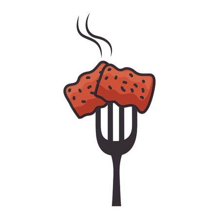 fork with delicious pork bacon vector illustration design Illusztráció