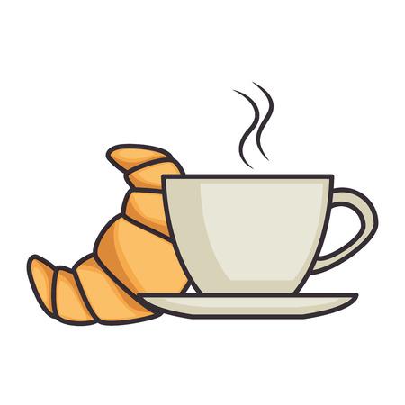 delicioso croissant con taza de café vector ilustración diseño