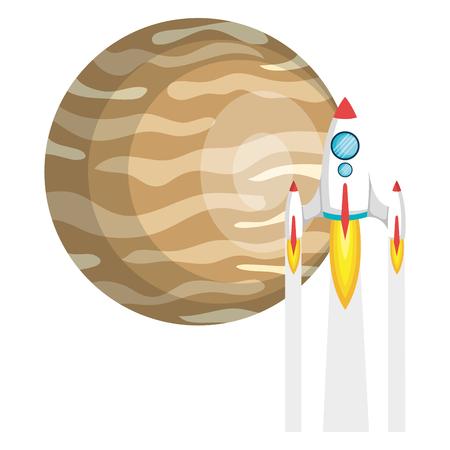 jupiter planet with rocket vector illustration design