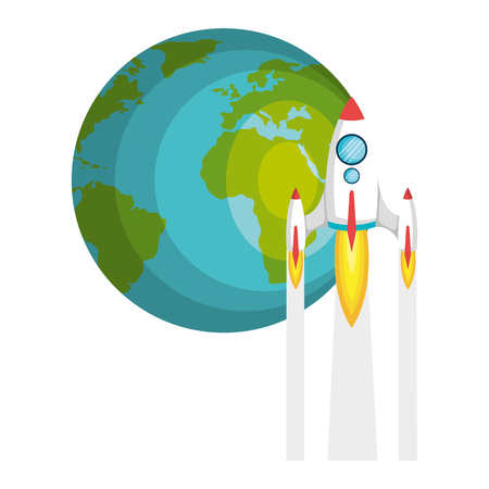 launcher: planet earth with rocket flying vector illustration design