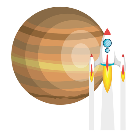 saturn planet with rocket flying vector illustration design