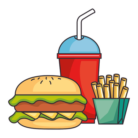 hamburger with soda and french fries vector illustration design