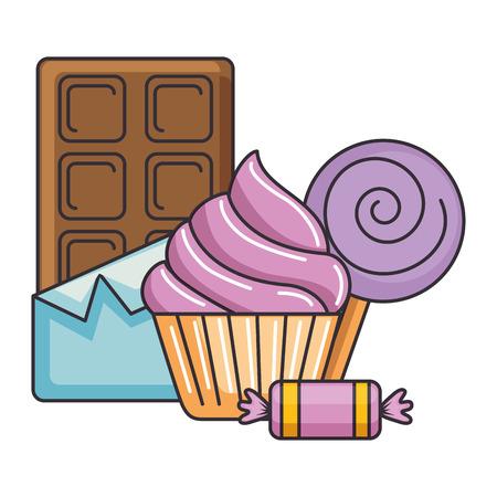 delicious cupcake with chocolate bar and candies vector illustration design Ilustração