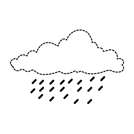 cloud sky silhouette with rain drops vector illustration design