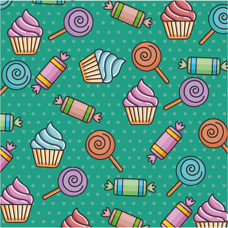 delicious sweet candies pattern background vector illustration design Illustration