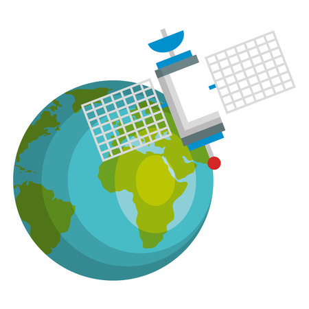 planet earth with satelite vector illustration design