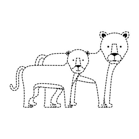 wild and big lion female with son vector illustration design Ilustração