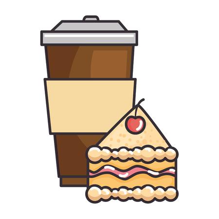 delicious cake portion with beverage vector illustration design