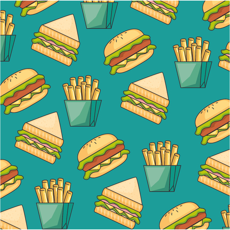 delicious fast food pattern background vector illustration design Ilustração