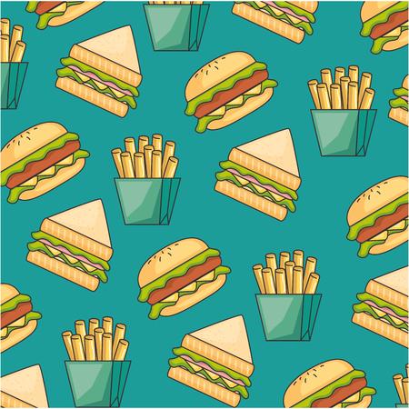 delicious fast food pattern background vector illustration design Illustration