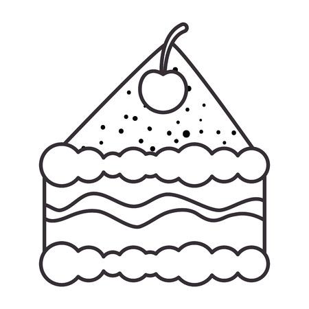 맛있는 케이크 부분 아이콘 벡터 일러스트 디자인