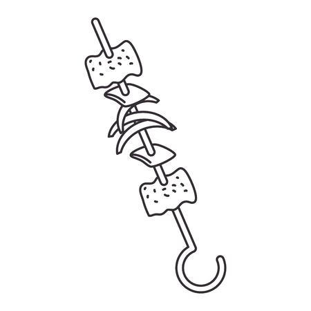 skewer of meats icon vector illustration design