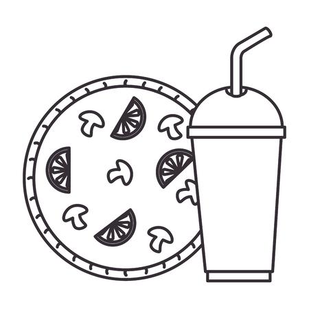 イタリアのおいしいピザとソーダのベクトル イラスト デザイン
