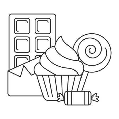 heerlijke cupcake met chocoladereep en suikergoed vectorillustratieontwerp Stock Illustratie
