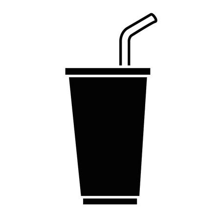 플라스틱 컵 및 짚 벡터 일러스트 디자인 소 다