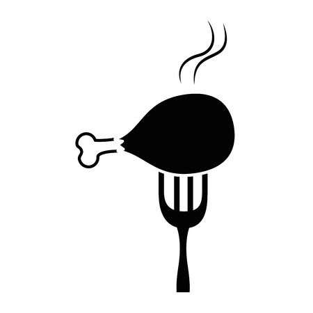 fork with chicken thigh vector illustration design