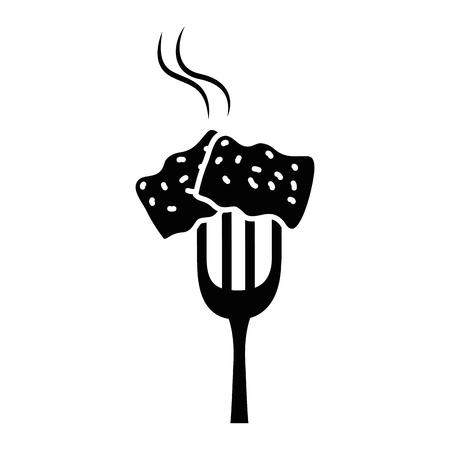 맛있는 돼지 고기 베이컨 벡터 일러스트 디자인 포크