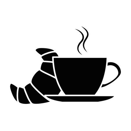 おいしいクロワッサン コーヒー カップ ベクトル イラスト デザイン、