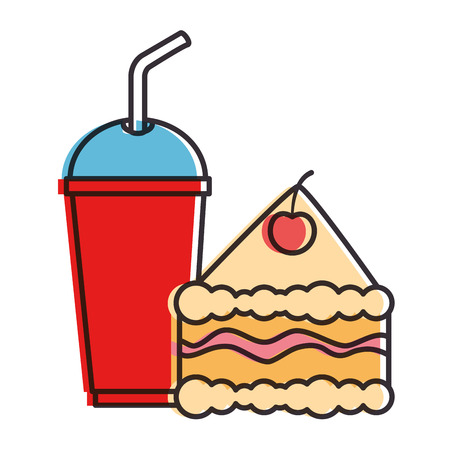 delicious cake portion with soda vector illustration design Illustration