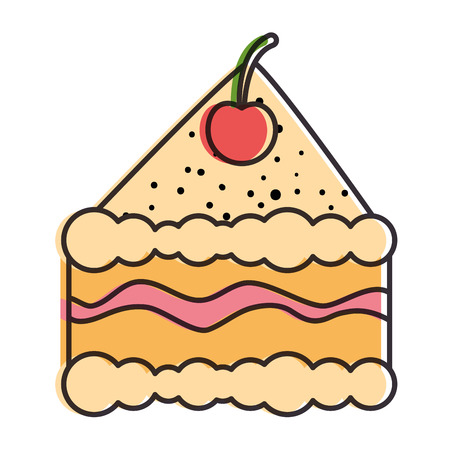 delicious cake portion icon vector illustration design