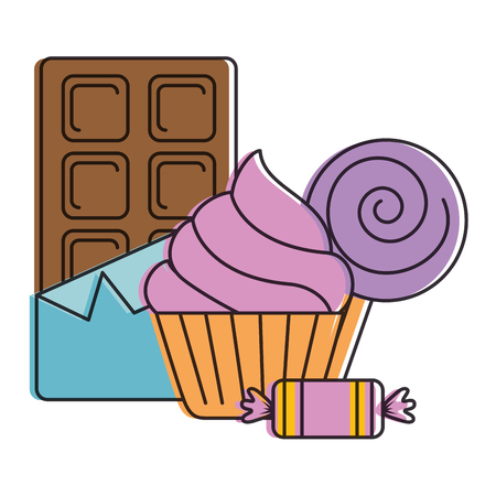 delicious cupcake with chocolate bar and candies vector illustration design Illustration