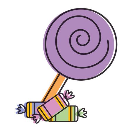 sweet lollipop with candies vector illustration design Illustration