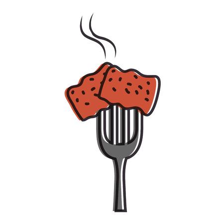 맛있는 돼지 고기 베이컨 벡터 일러스트 디자인 포크 스톡 콘텐츠 - 88838772