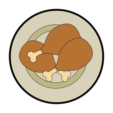 dish with chicken thighs vector illustration design