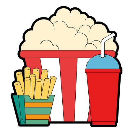 delicious pop corn with soda and french fries vector illustration design Illusztráció