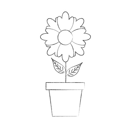 potted flower natural bulb growth plant decoration vector illustration Stock Vector - 88838834