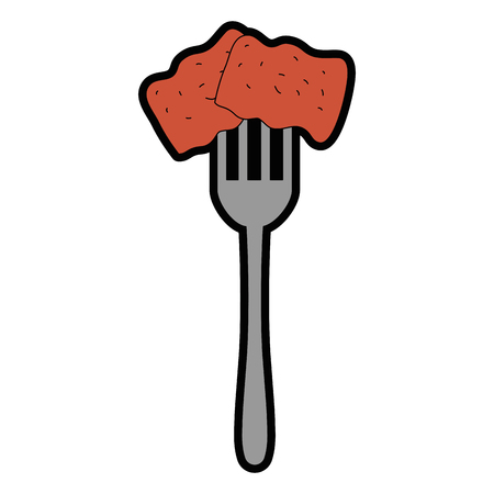 fork with delicious pork bacon vector illustration design Çizim