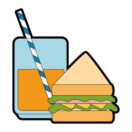 맛있는 샌드위치와 소다 벡터 일러스트 레이션 디자인 일러스트