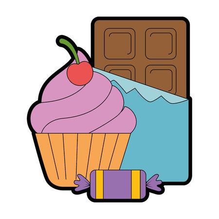 초콜릿 바와 사탕과 맛있는 먹고 벡터 일러스트 레이 션 디자인 일러스트